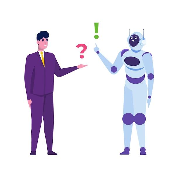 Chatbot-konzept. mann spricht mit roboter. kundendienst android, künstliche intelligenz dialog. Premium Vektoren