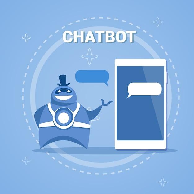 Chatbot-konzept-support-roboter-technologie-digital-chat-bot-anwendung auf intelligentem telefon Premium Vektoren
