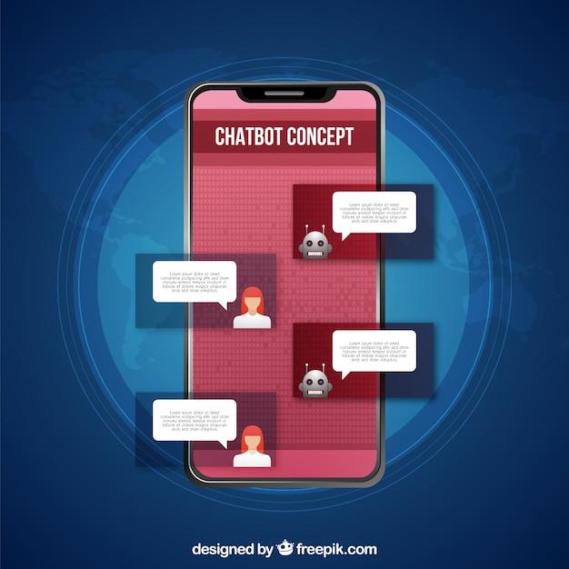 Chatbot-konzepthintergrund in der realistischen art Kostenlosen Vektoren