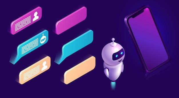 Chatbot-technologie, isometrischer ikonenschnittstellensatz Kostenlosen Vektoren