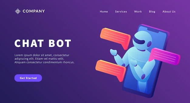 Chatbot-technologiekommunikation mit smartphone- und roboterkonzept für website-vorlage oder landing-homepage Premium Vektoren
