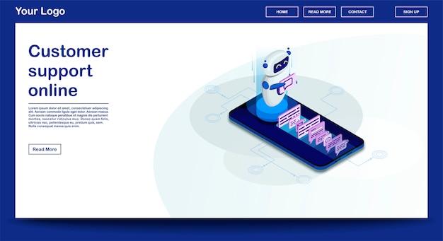 Chatbot-webseiten-vektorschablone mit isometrischer illustration Premium Vektoren