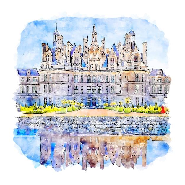 Chateau de chambord frankreich aquarell skizze hand gezeichnete illustration Premium Vektoren