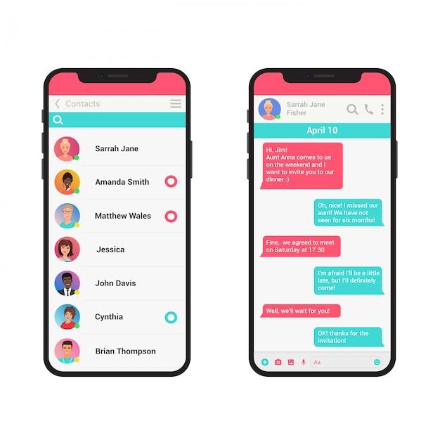 Chating- und messaging-illustrationskonzept. soziales netzwerk messenger modernes smartphone isoliert. Premium Vektoren