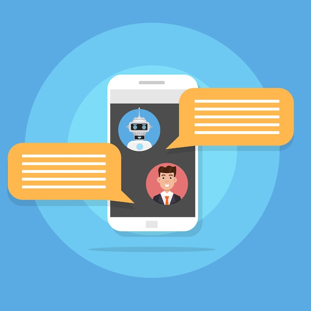 Chatten mit dem chat-bot-konzept. support-service robotersymbol. vektorillustration im flachen stil. Premium Vektoren