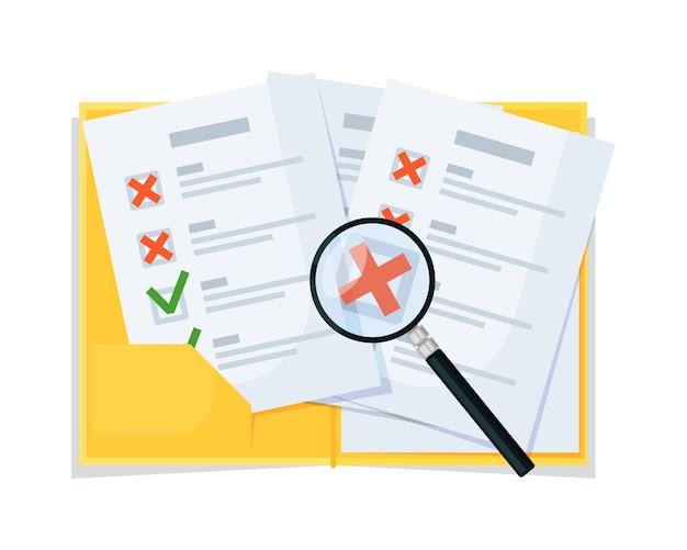 Checkliste checkup, analyse und vergrößerung bewertungsvektor Premium Vektoren