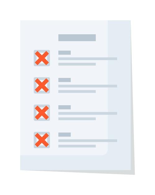 Checkliste für papierdokumente mit roter ablehnung und falschem häkchen Premium Vektoren