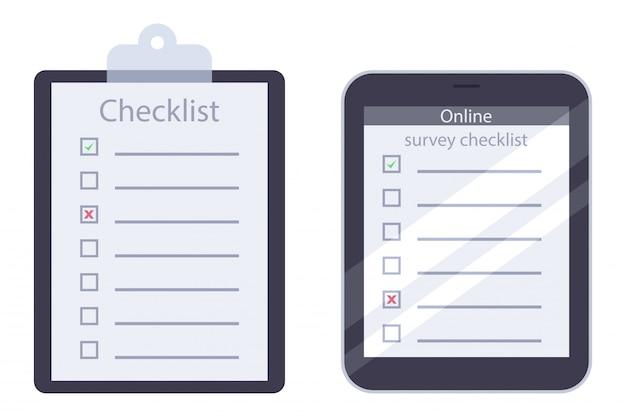Checkliste für zwischenablage und online-umfrage mit grünem häkchenvektor flach Premium Vektoren