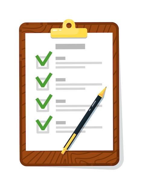 Checkliste zwischenablage mit häkchen und stift isoliert auf weiß Premium Vektoren