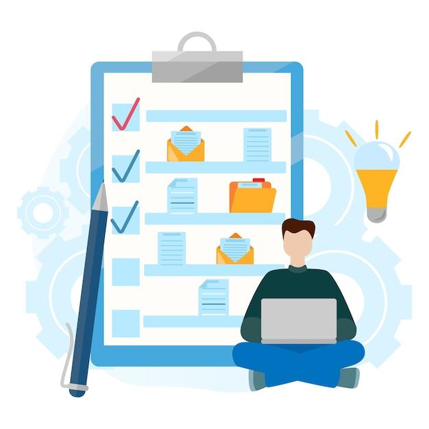 Checkliste zwischenablage. ordner mit dokument. erfolgreiche erledigung von geschäftsaufgaben. Premium Vektoren