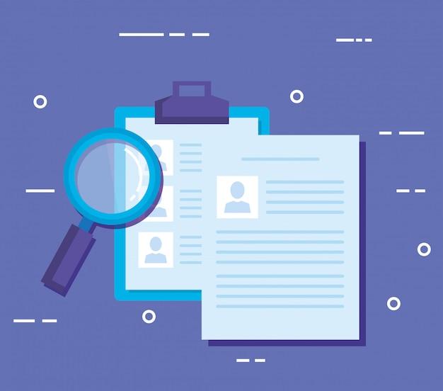 Checklisten-zwischenablage mit lupe Kostenlosen Vektoren