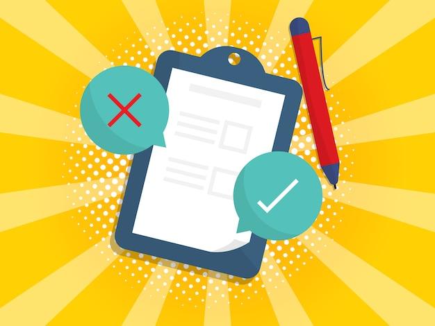 Checklistenpapier auf clipboarrd mit zutreffendem und falschem symbol Premium Vektoren
