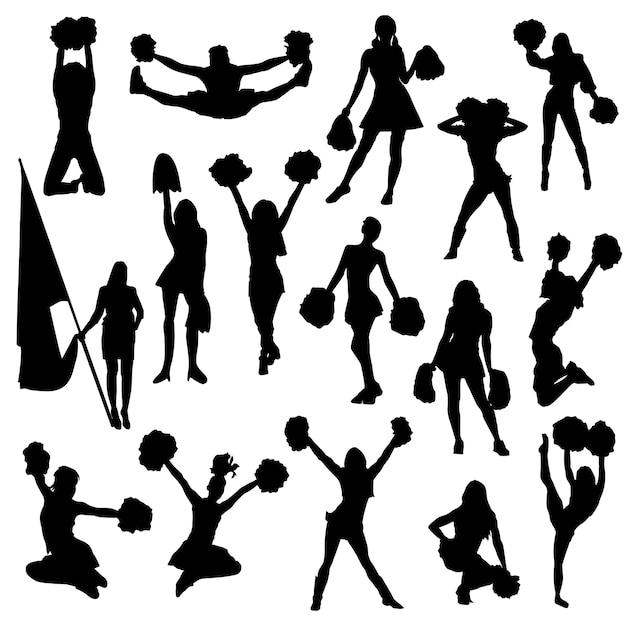 Cheerleader frau sport silhouette clipart Premium Vektoren