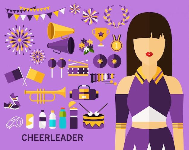 Cheerleader-konzept-hintergrund Premium Vektoren