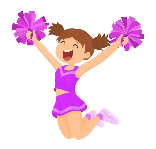 Cheerleader mit passenden pompons Premium Vektoren