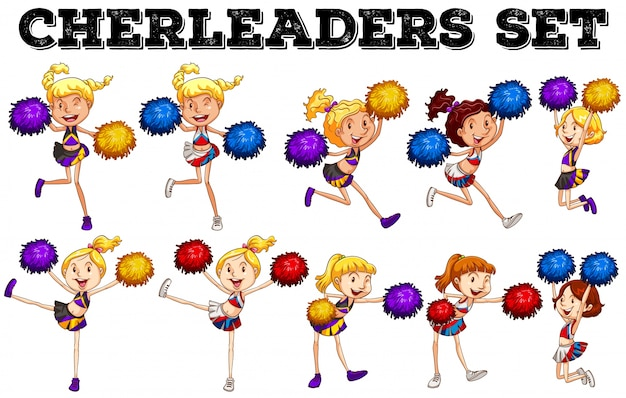 Cheerleader mit pompom sprung nach oben und unten abbildung Kostenlosen Vektoren