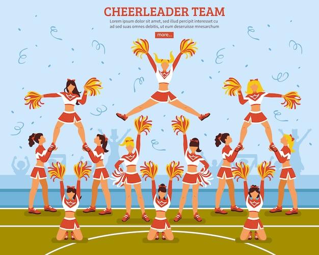 Cheerleader-team-stadion-flaches plakat Kostenlosen Vektoren
