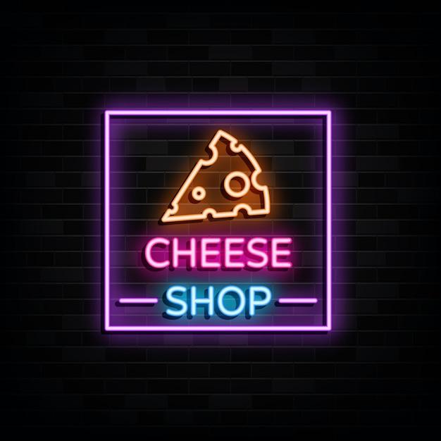 Cheese shop leuchtreklamen design vorlage neon style Premium Vektoren