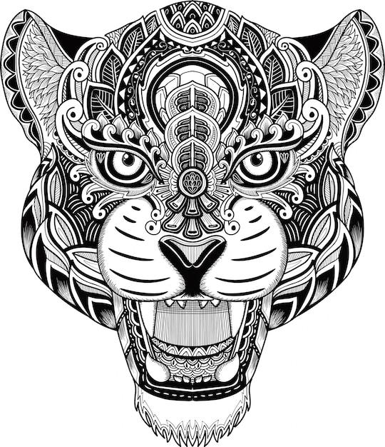 Cheetah head zentangle style weiß und schwarz Premium Vektoren
