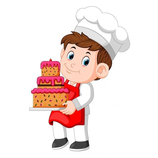 Chef, der eine Platte mit einem köstlichen Kuchen hält Premium Vektoren