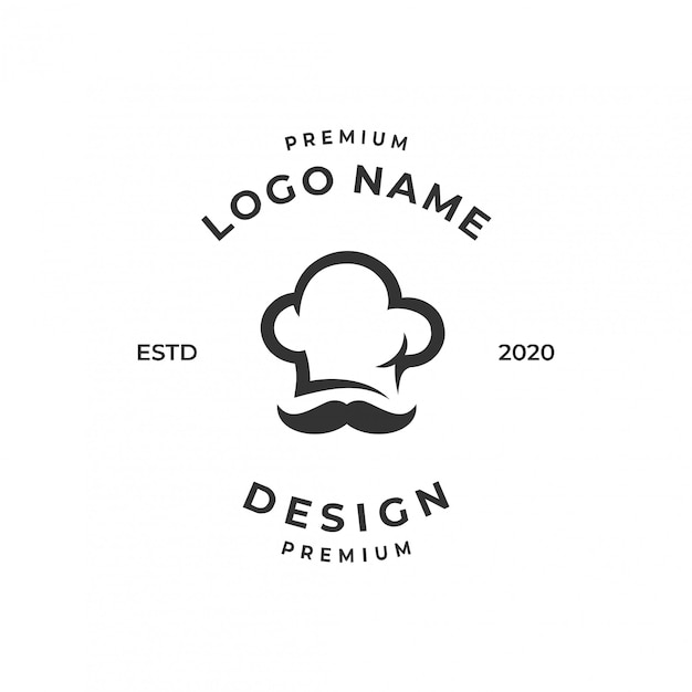 Chef logo konzept, essen / restaurant design vorlage. Premium Vektoren
