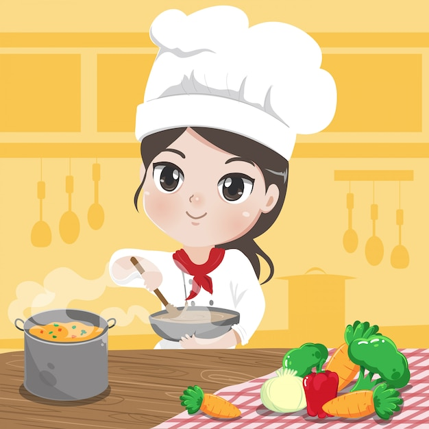 Chef mädchen kocht und lächelt in der küche, Premium Vektoren