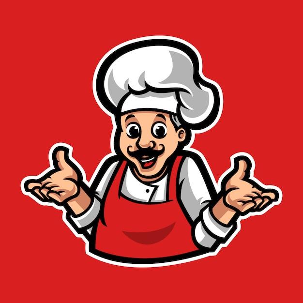Chef maskottchen logo vorlage Premium Vektoren