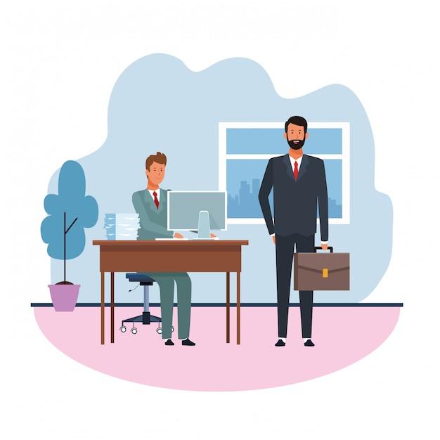 Chef und arbeiter teamwork Premium Vektoren