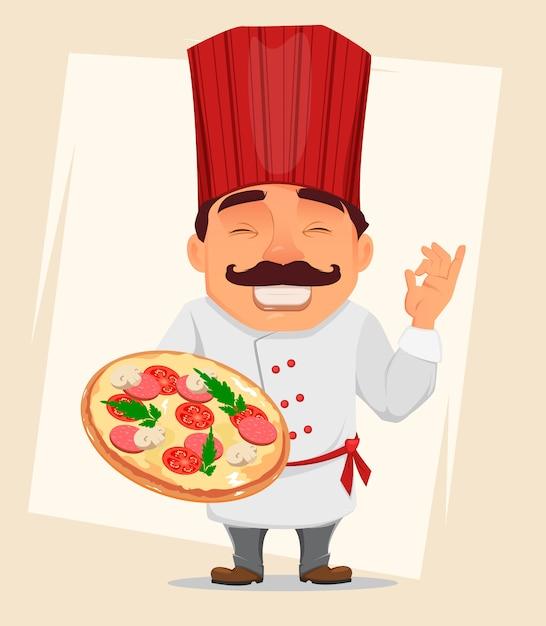 Chefkoch, der geschmackvolle pizza hält Premium Vektoren