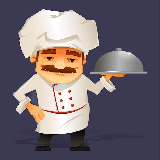 Chefkoch serviert essen Premium Vektoren
