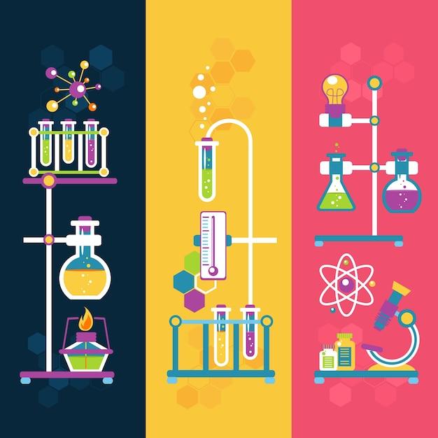 Chemie-design-banner Kostenlosen Vektoren