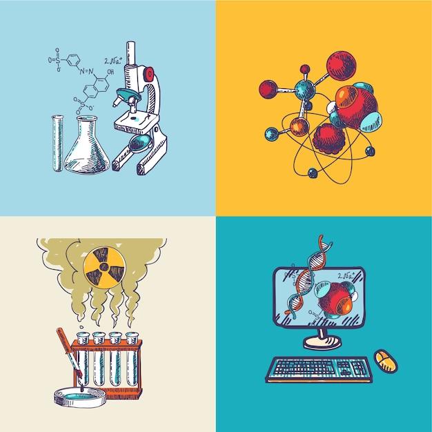 Chemie symbol skizzenzusammensetzung Kostenlosen Vektoren