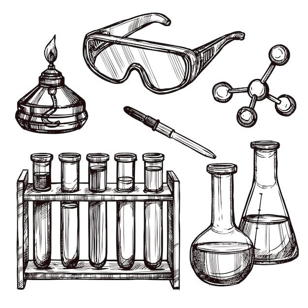 Chemie-werkzeug-hand gezeichneter satz Kostenlosen Vektoren