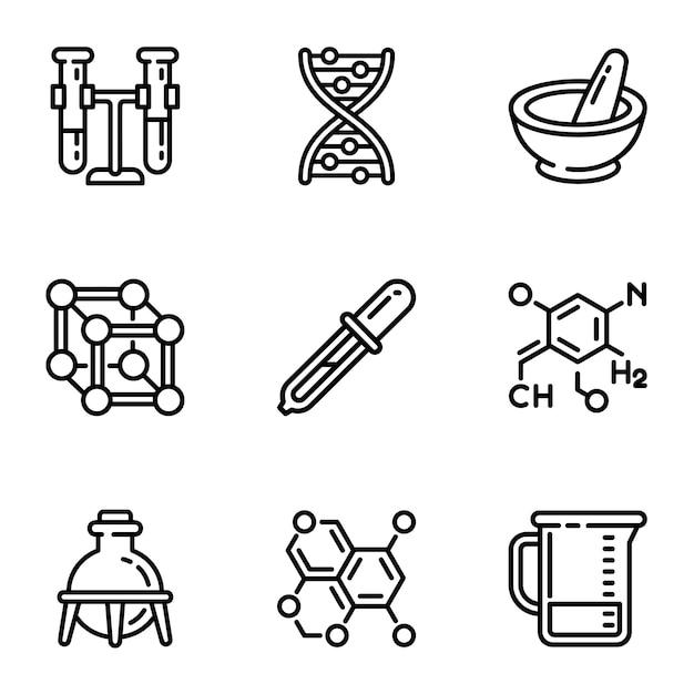 Chemie wissenschaft icon set. umreißsatz von 9 chemiewissenschaftsikonen Premium Vektoren