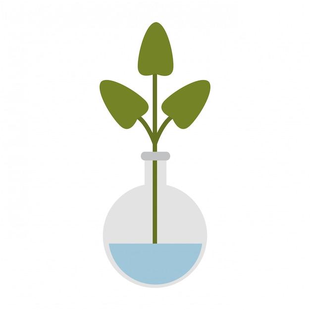 Chemieflasche mit pflanze Premium Vektoren
