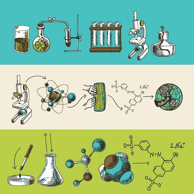 Chemieforschung skizze banner gesetzt Kostenlosen Vektoren