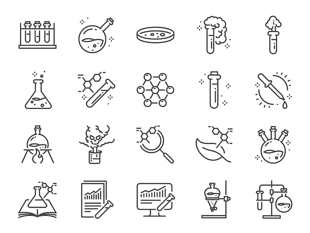 Chemielabor-icon-set. Premium Vektoren