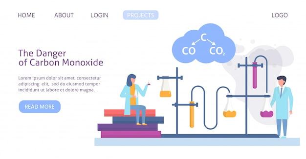 Chemische forschung in der ökologie der verschmutzten stadt mit wissenschaftlern menschen und chemische formel der luftverschmutzung website vorlage illustration. Premium Vektoren