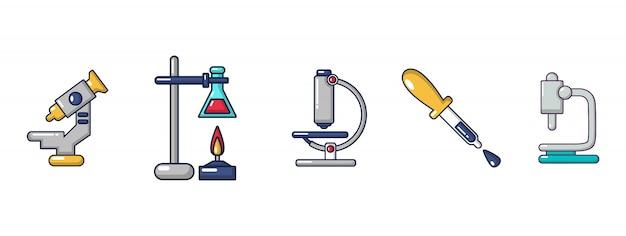 Chemische werkzeuge-icon-set. karikatursatz chemische werkzeugvektorikonen eingestellt lokalisiert Premium Vektoren