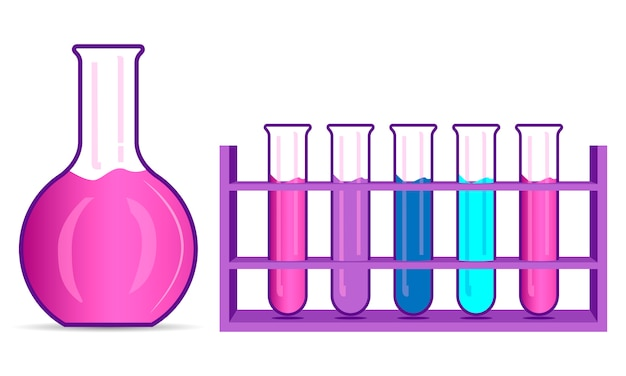 Chemisrty kolben und becher set. flache illustration. Premium Vektoren