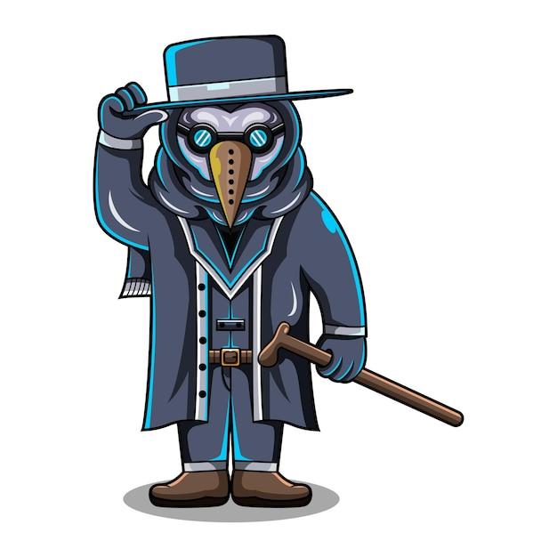 Chibi-maskottchen-logo des pestarztes Premium Vektoren