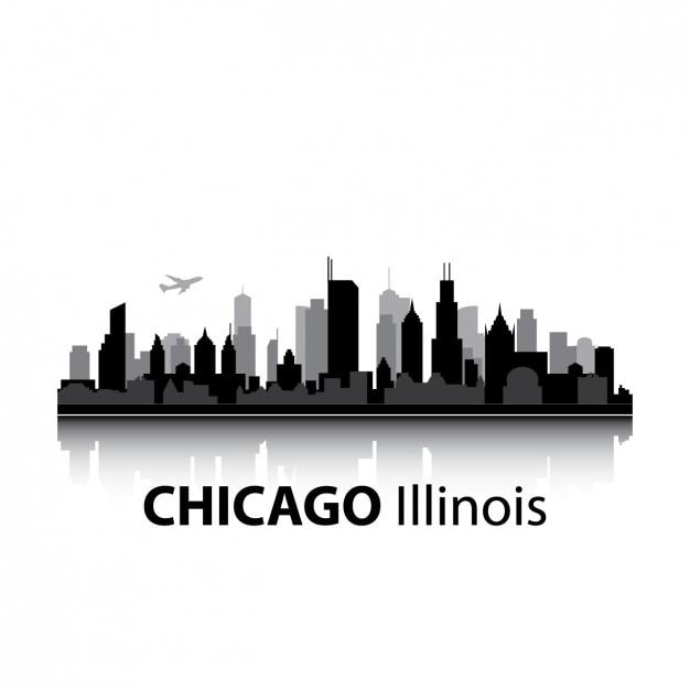 Chicago skyline design Kostenlosen Vektoren
