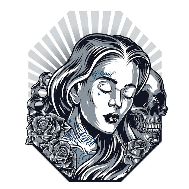Chicano tattoo vintage vorlage Kostenlosen Vektoren