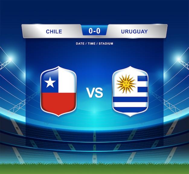 Chile gegen uruguay-anzeigetafel sendete fußball copa america Premium Vektoren