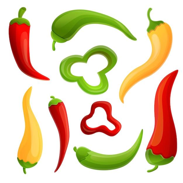 Chili icons set Premium Vektoren