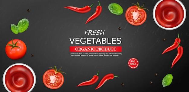 Chili und tomatensauce zutaten layoutvorlage Premium Vektoren