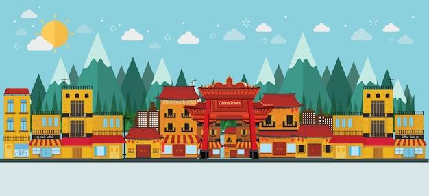 China berühmte touristenattraktionen Premium Vektoren