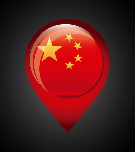 China-design über schwarzer hintergrund-vektorillustration Premium Vektoren