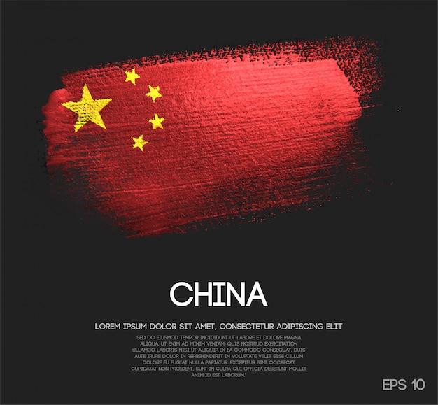 China-flagge gemacht von der funkeln-schein-bürsten-farbe Premium Vektoren