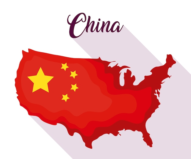 China-flagge im kartenformdesign Premium Vektoren
